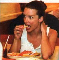 Kristin Davis eating