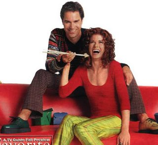 eric mccormack and debra messing eating